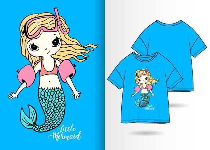 Diseño de camiseta dibujada a mano de sirena de natación vector