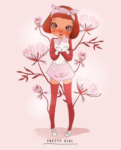Ragazza sveglia disegnata a mano che indossa le calze lunghe e che tiene gatto con il fondo del fiore