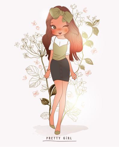 Dibujado a mano linda chica con falda y lazo en haur con fondo de flores vector