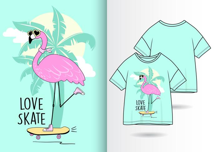 Cool Skate Flamingo handritad t-shirtdesign vektor