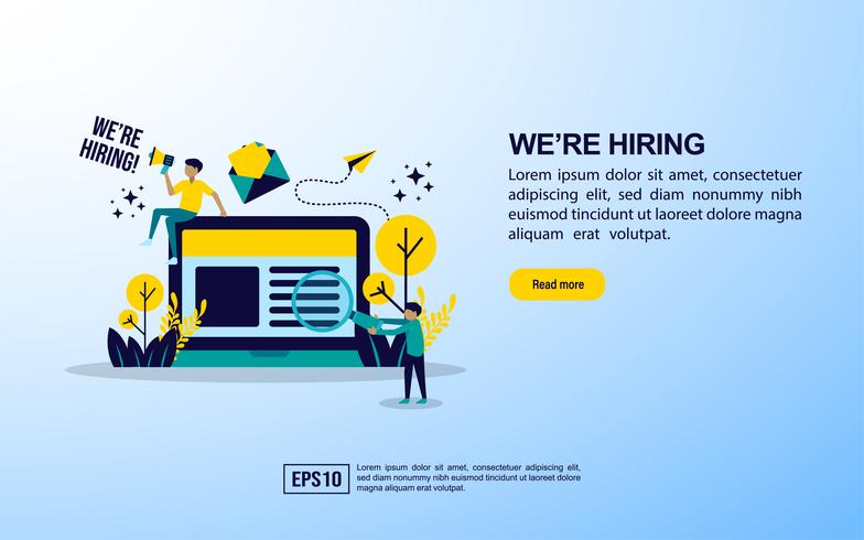 Página da Web de contratação de trabalho vetor