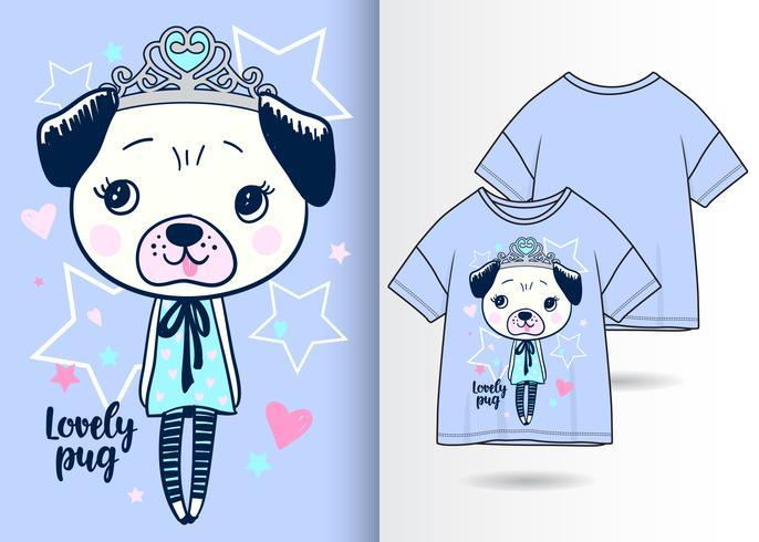 Mooi Pug Hand Getrokken T-shirtontwerp vector