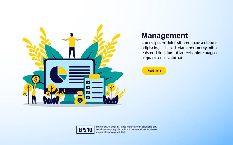 Modelo de página da web de gerenciamento vetor