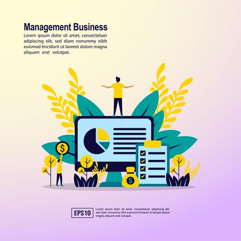 Management business landing page  vector