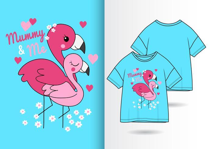 Diseño de camiseta de flamenco dibujado a mano de mamá y yo vector