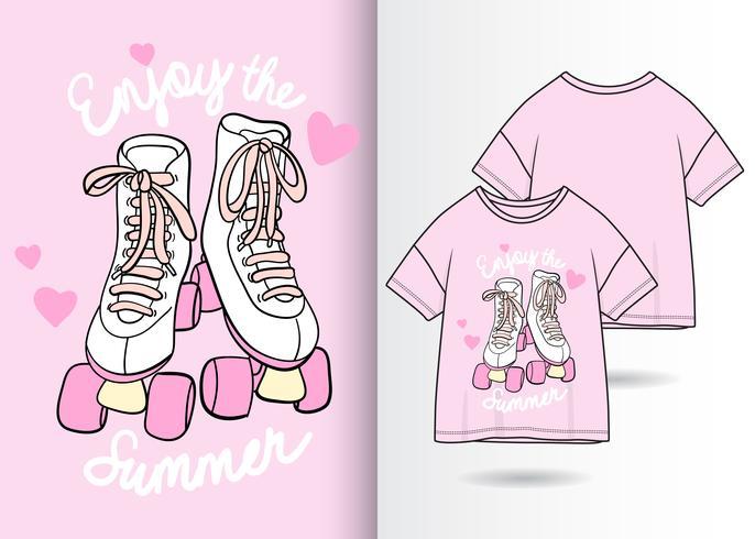 Diseño de camiseta dibujada a mano de patines vector