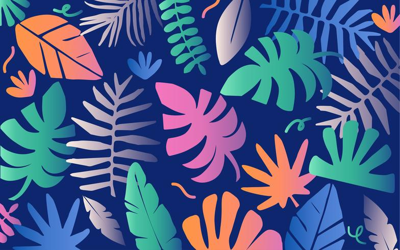 Neon Tropical jungle leaves and flowers  vector