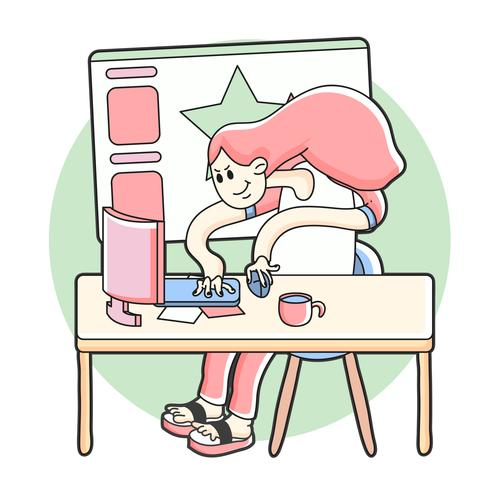 Ilustração de trabalho do artista gráfico vetor