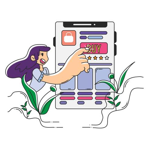 interface do usuário compras on-line de uma ilustração linda garota vetor