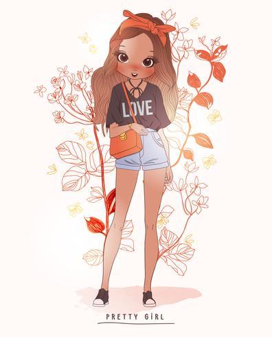 Bolso de mano linda chica dibujada con fondo de flores vector