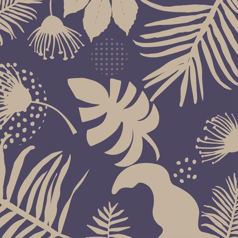 Fondo de hojas y flores de selva tropical