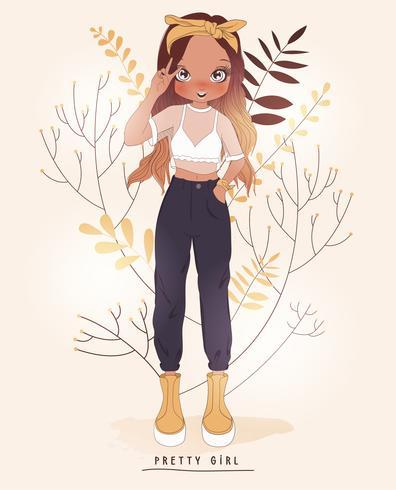 Handritad söt flicka i byxor och vit topp med blommabakgrund