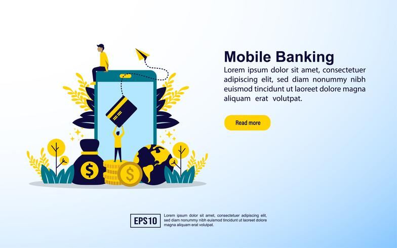 Page de destination de la banque mobile