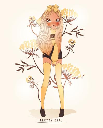 Ragazza carina disegnata a mano che indossa calze gialle con sfondo di fiori