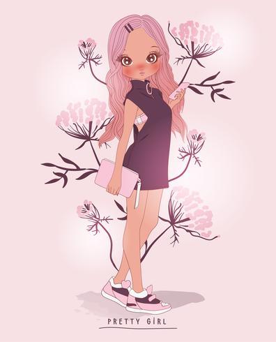 Dibujado a mano linda chica con teléfono y bolso con fondo de flores vector