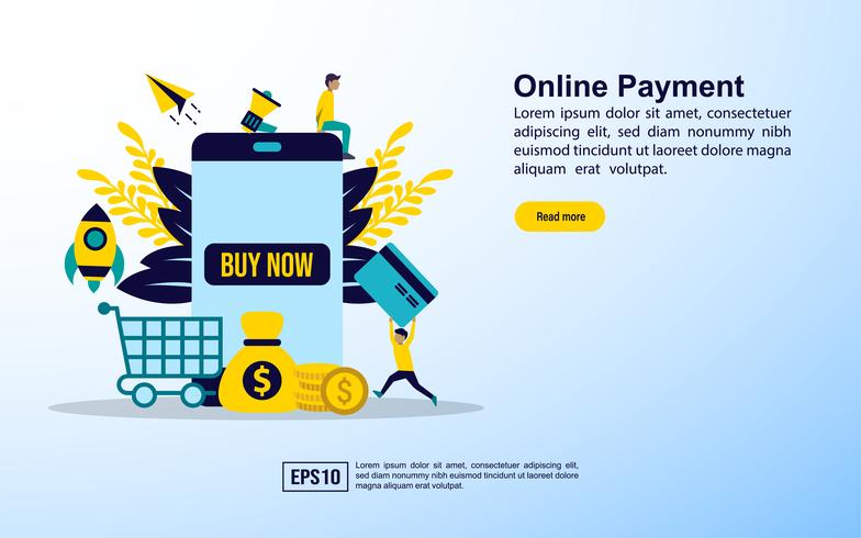 Conceito de compras online com ícones vetor