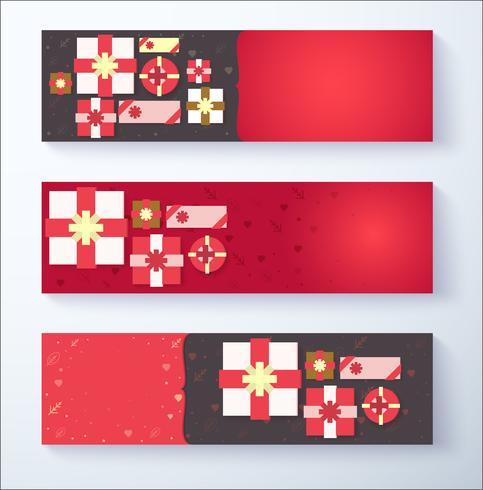 Fond de bannière de Saint Valentin avec boîte-cadeau