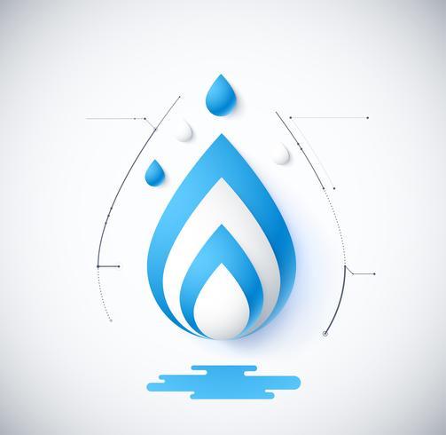 diagrama de infográfico em branco do conceito de água vetor