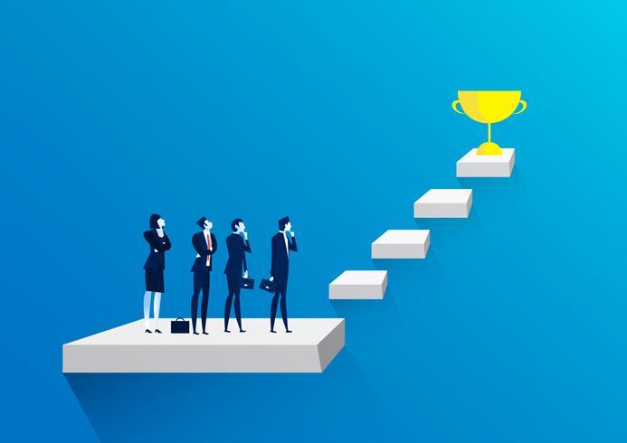 Equipo de empresario pensando en escaleras al trofeo de oro como símbolo de éxito. vector