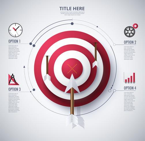 diagrama infográfico de alvo e objetivo