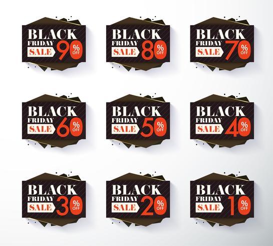 Etiqueta de promoción del viernes negro y descuento de etiqueta vector