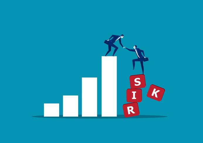 Hombre de negocios ayudando a su compañero a escalar la palabra riesgo vector