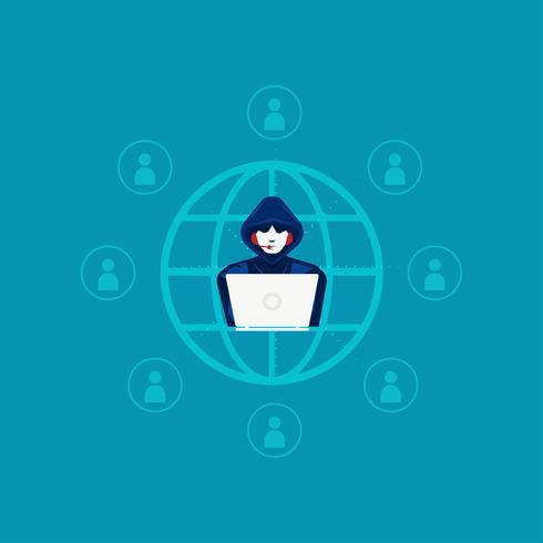 hacker de centro de llamadas robando información personal