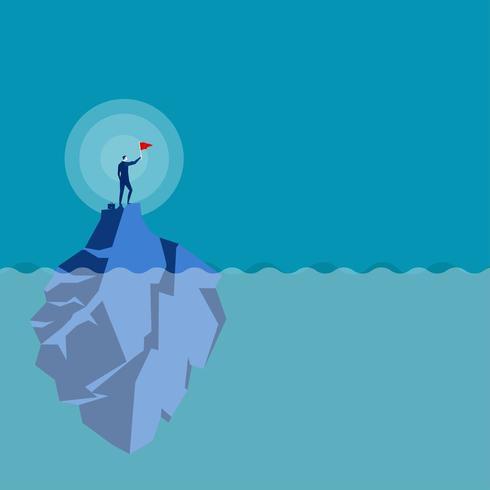 Conceito de vetor de líder de negócios com empresário plantando bandeira no topo da montanha da ilha
