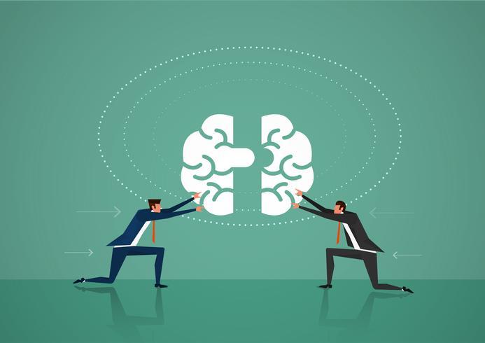 Dois negócios homem empurre peças de quebra-cabeça do cérebro juntos