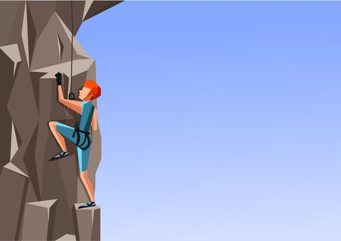Cartoon illustration of a man climbing the rock on blue background. vector
