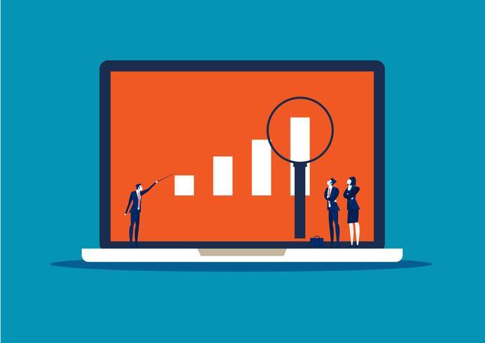 Empresario en busca de oportunidades de inversión en portátil vector