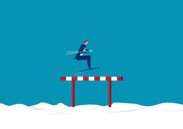 Homme d'affaires sautant par-dessus des obstacles ou des obstacles sur fond de neige vecteur