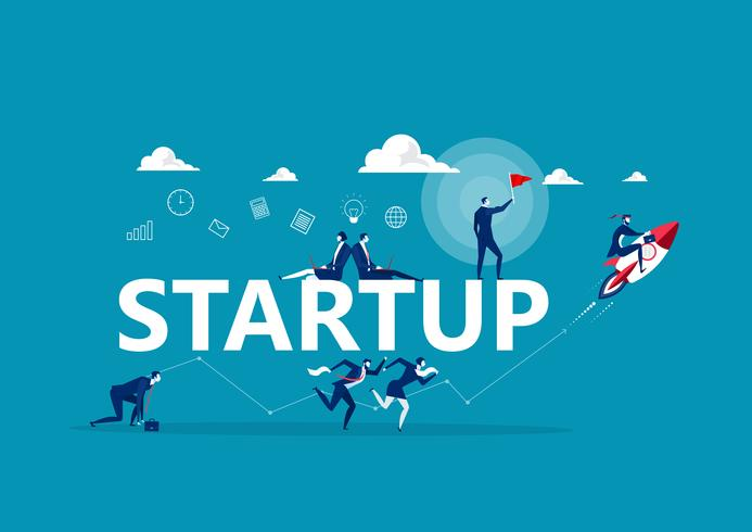 People doing different business activities around the word Startup vector