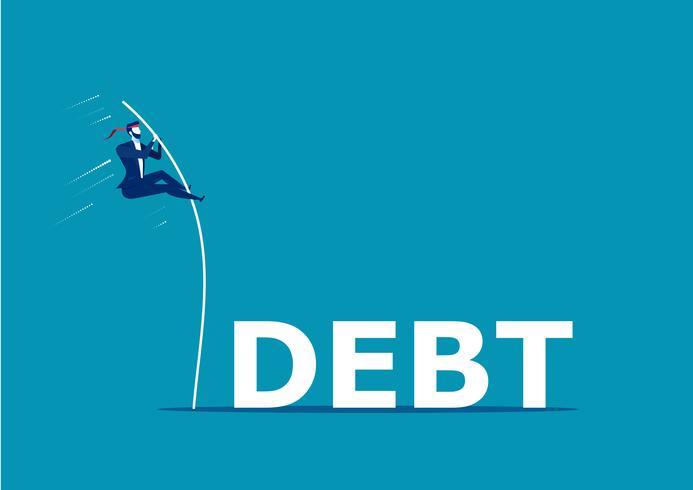Homme d'affaires sautant par-dessus le mot dette