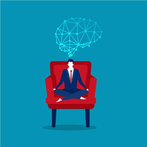 empresário sentado pose de lótus na cadeira do escritório com o cérebro em cima