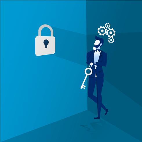 Um homem de negócios pensando em pegar a chave e colocá-la em um bloqueio para o sucesso