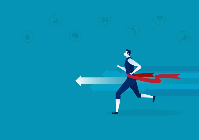 Hombre corriendo con cinta roja alrededor de la cintura y los iconos de salud vector