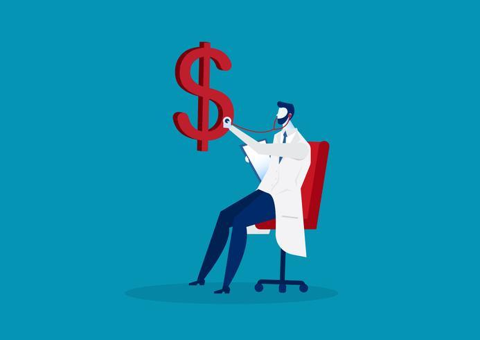 Geschäftsarztdollar-Gesundheitscheck mit Stethoskop