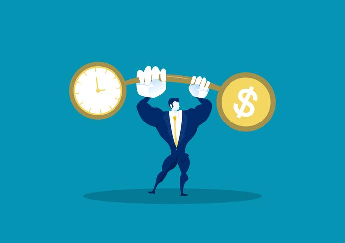 Business man holding weights comparing finance with time