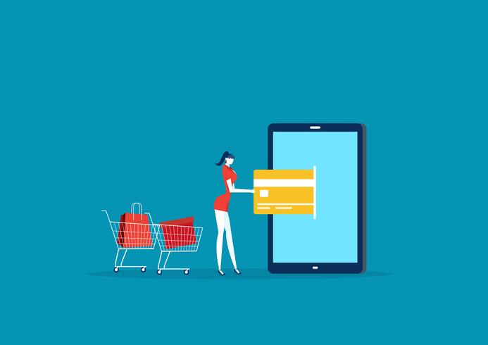 Lady shopping and paying with credit card via mobile