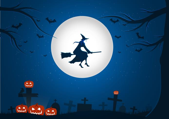 Halloween cemetery background picture with flying witch and bats vector