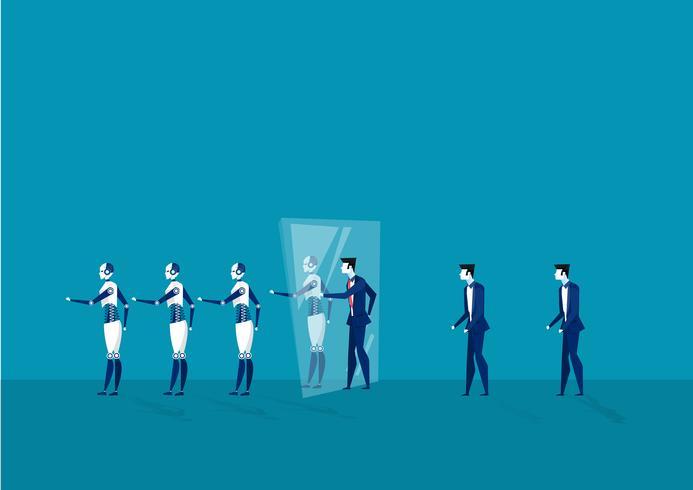 uomini d'affari camminano attraverso lo specchio e diventano robot