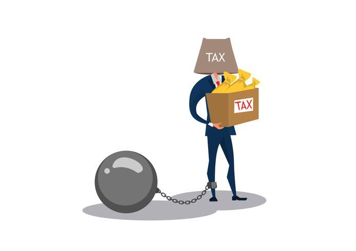 uomo d'affari in possesso di scatola di denaro per pagare l'intero importo delle tasse vettore
