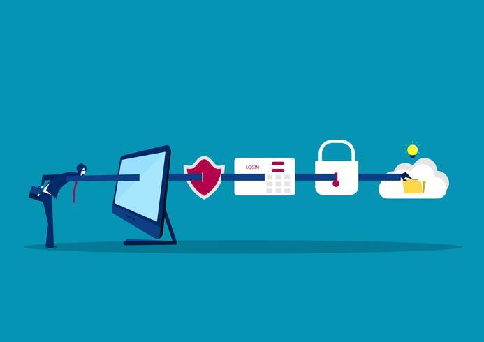 Geschäftsmann, der Daten vom Computerlaptop, blauer Hintergrund stiehlt