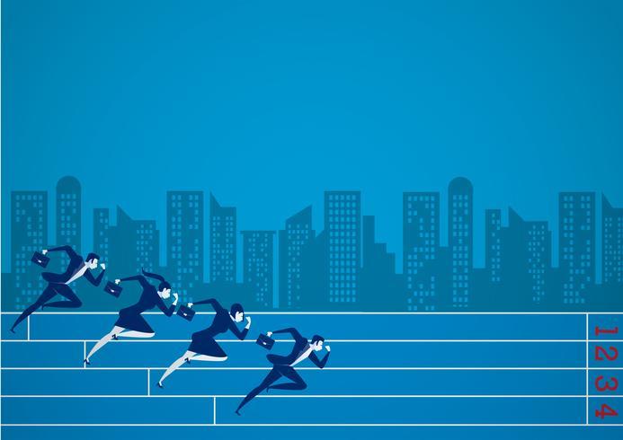 Empresários correndo na competição de negócios por objetivo vetor