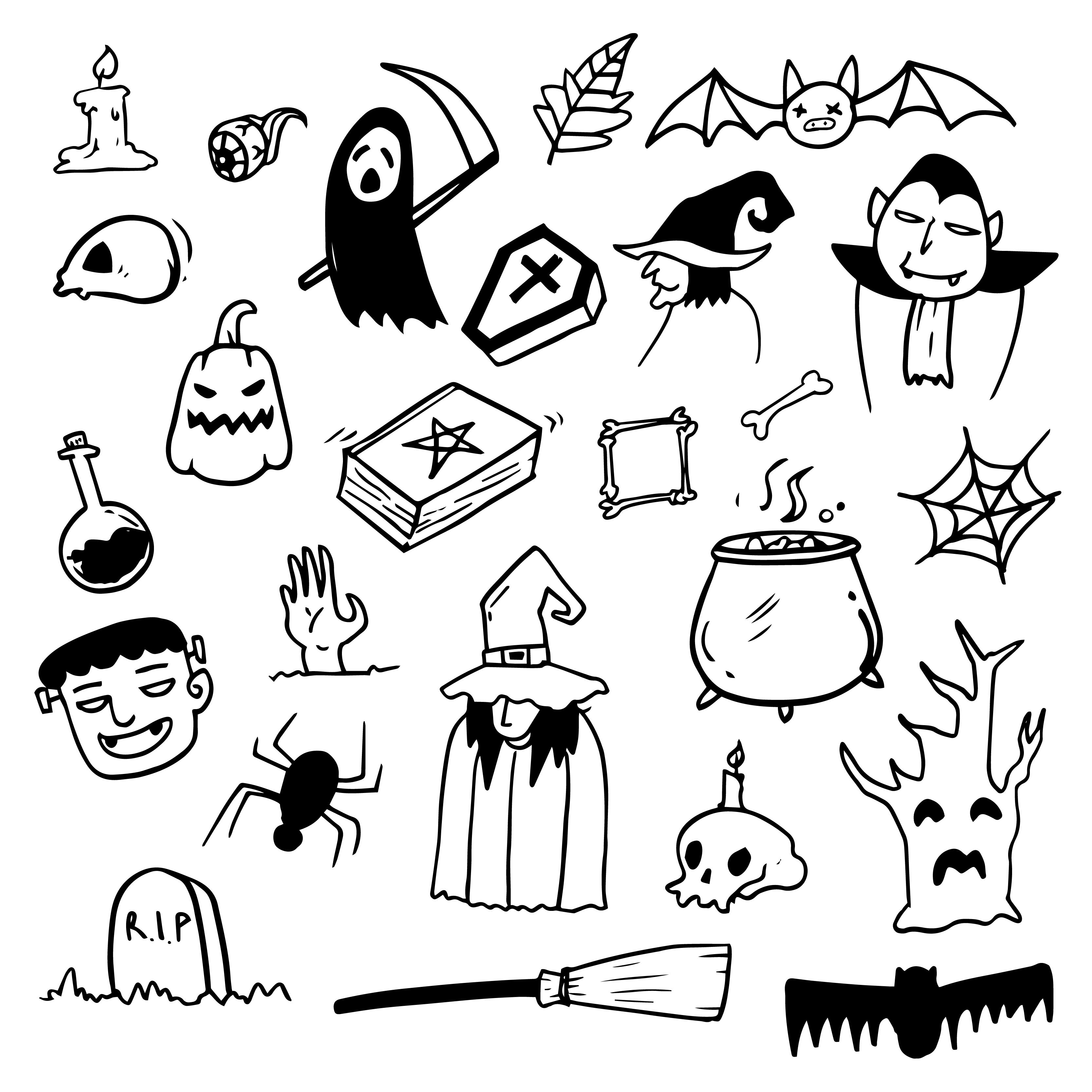 Halloween Doodle Draw Download Free Vectors Clipart Graphics Vector Art