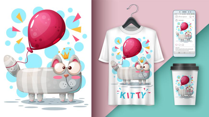 Gato y globo: maqueta para tu idea vector