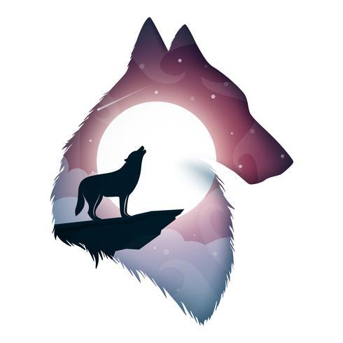 Wolf illustration. Cartoon paper landscape. vector