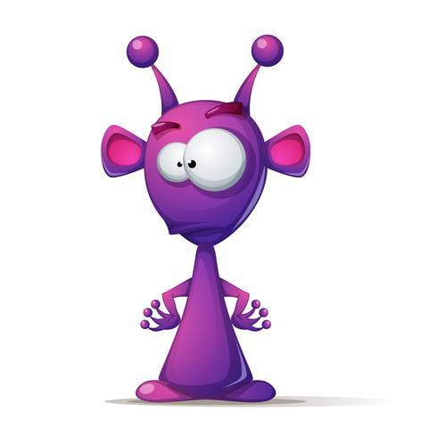 Engraçado, bonito alienígena com olhos grandes e ouvido vetor