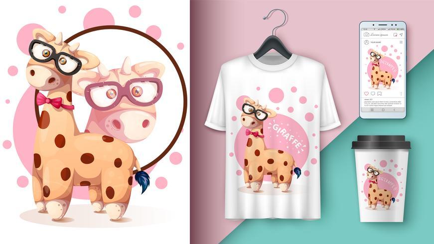 Crazy giraffe - maqueta para tu idea vector